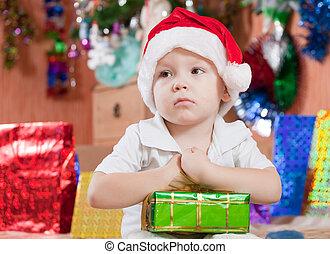 男の子, わずかしか, クリスマスの ギフト