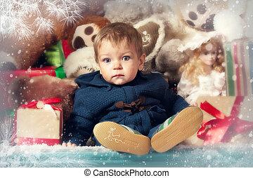 男の子, わずかしか, クリスマス, 肖像画