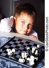 男の子, わずかしか, クローズアップ, 肖像画, chess., 遊び