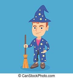 男の子, わずかしか, コーカサス人, magician., 服を着せられる