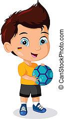 男の子, わずかしか, サッカー, 子供