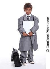 男の子, わずかしか, スーツ, ビジネス, 服を着せられる