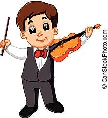 男の子, わずかしか, バイオリンを演奏すること