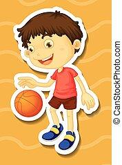 男の子, わずかしか, バスケットボール, 遊び