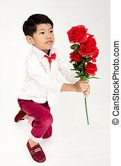 男の子, わずかしか, バラ, 型, アジア人, スーツ, 赤