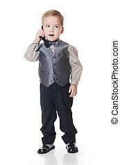 男の子, わずかしか, ビジネス 電話, スーツ, 話す