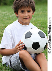 男の子, わずかしか, フットボール, 保有物