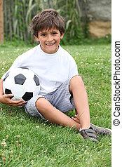 男の子, わずかしか, フットボール