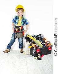 男の子, わずかしか, フルである, 帽子, 道具, 懸命に, handyman, 次に, 建設, 道具箱, 道具, ベルト