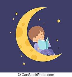 男の子, わずかしか, ベクトル, モデル, 月の空, 読書, イラスト, 夜, かわいい, 本