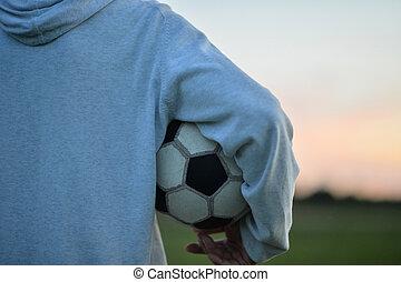 男の子, わずかしか, ボール, サッカー