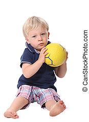 男の子, わずかしか, ボール, 遊び