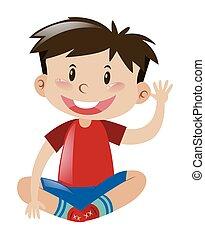 男の子, わずかしか, ワイシャツ, 手, 振ること, 赤