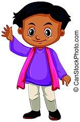 男の子, わずかしか, ワイシャツ, 紫色, 手, 振ること