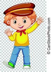 男の子, わずかしか, ワイシャツ, 黄色, 手, 振ること