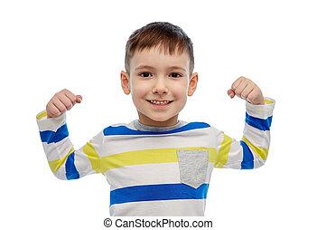 男の子, わずかしか, 上げられた 手, 幸せに微笑する