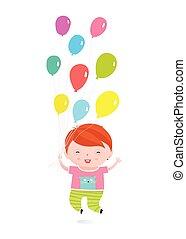 男の子, わずかしか, 休日, 跳躍, balloons., 幸せ