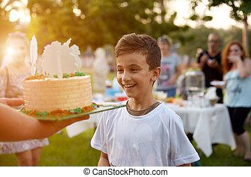 男の子, わずかしか, 公園, birthday, 緑, ケーキ, 驚かされる