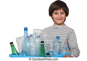 男の子, わずかしか, 分類, びん, ごみ, プラスチック