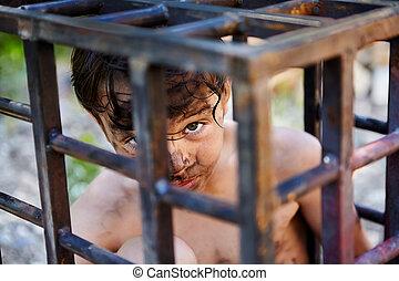 男の子, わずかしか, 刑務所, cell., 座る, 誘拐