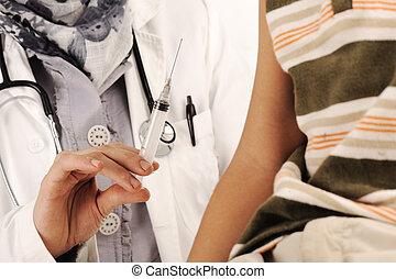 男の子, わずかしか, 医者, 寄付, 病院, muslim, 女性, 注入