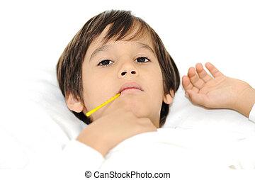 男の子, わずかしか, 卵を生む, ベッド, 温度計, 病気
