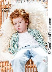 男の子, わずかしか, 哀愁を秘めた, モデル, 肖像画, 椅子, 羊毛