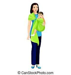男の子, わずかしか, 女, shoulder-cloth, 吊包帯, イラスト, 届く, ベクトル, 赤ん坊