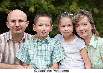 男の子, わずかしか, 家族, 2, 早く, park., 父, 秋, 母, 女の子, 子供