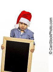 男の子, わずかしか, 帽子, santa