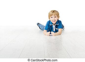 男の子, わずかしか, 床, 下方に, 微笑, あること