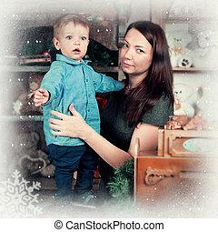 男の子, わずかしか, 彼の, お母さん, 肖像画, クリスマス