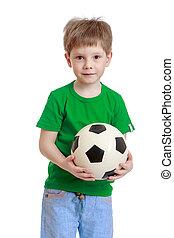 男の子, わずかしか, 彼の, フットボール, クローズアップ, 手