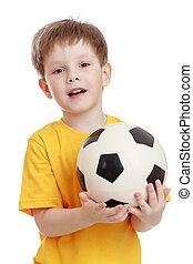 男の子, わずかしか, 彼の, フットボール, 朗らかである, 手