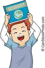男の子, わずかしか, 彼の, 幸福に, 提示, イラスト, n, 間, 微笑