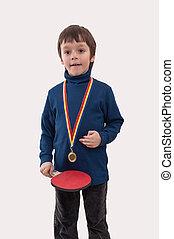 男の子, わずかしか, 彼の, 金, n, メダル