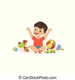 男の子, わずかしか, 彼の, bully, 子供, 壊れる, イラスト, 朗らかである, ひどく, ベクトル, おもちゃ, 行動, 子供, ギャング, 遊び