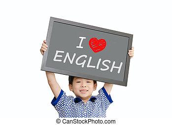 """男の子, わずかしか, 愛, """"i, アジア人, 保有物, 英語, メッセージ, 黒板"""
