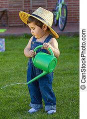 男の子, わずかしか, 水まき, 赤ん坊, 草, 庭師