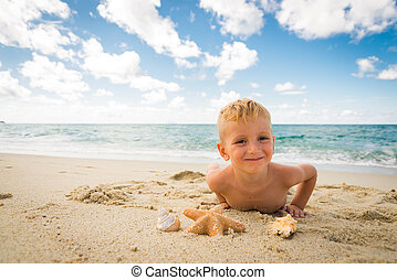 男の子, わずかしか, 浜, 遊び, ヒトデ