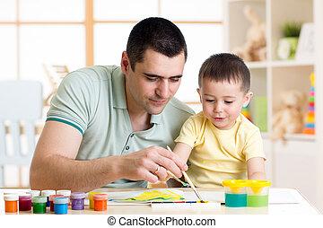 男の子, わずかしか, 父, 楽しみ, 家, 絵, 持つこと