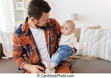 男の子, わずかしか, 父, 赤ん坊, 家, 幸せ