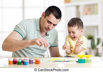 男の子, わずかしか, 父, 3, 年, 楽しみ, 家, 絵, 持つこと
