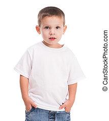 男の子, わずかしか, 白いシャツ