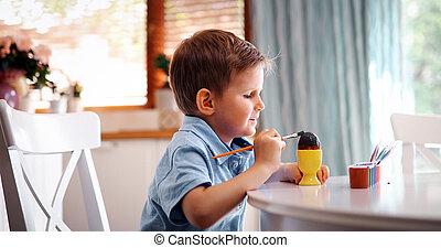男の子, わずかしか, 着色, 卵, 国内, 子供, 休日, イースター, 台所
