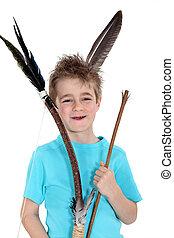 男の子, わずかしか, 矢, 保有物, 弓