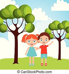 男の子, わずかしか, 自然, 抱き合う, 外, 女の子, 友情, 幸せ