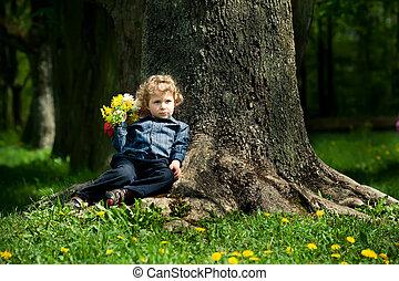 男の子, わずかしか, 花