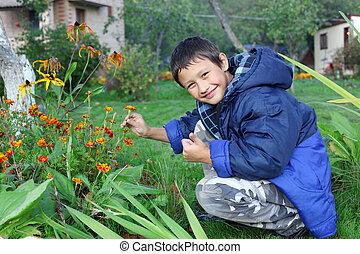 男の子, わずかしか, 花, 屋外で