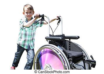 男の子, わずかしか, 車椅子